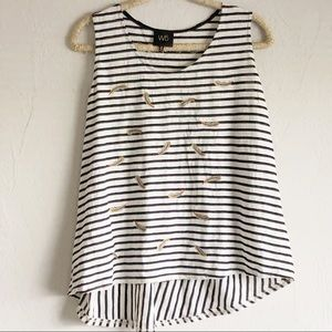 Anthropologie W5 Striped Tank with Feather Detail